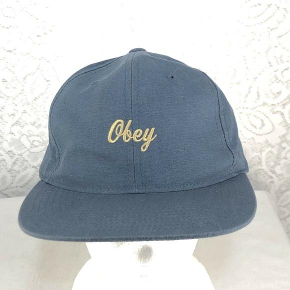d84840fbad636 B55 Obey 6 Panel Blue Tan Embroider Logo Men s Hat